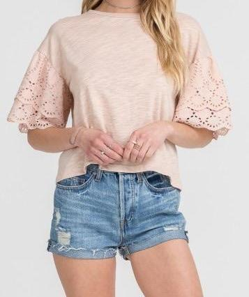 DIANA DUSTY ROSE EYELET SLEEVED KNIT TOP