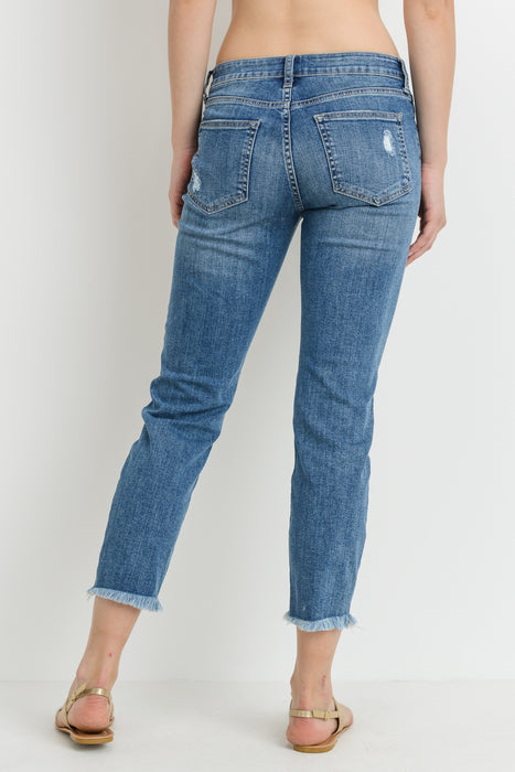 HANNAH HIGH RISE DESTROYED RELAXED SKINNY MEDIUM JUST BLACK DENIM