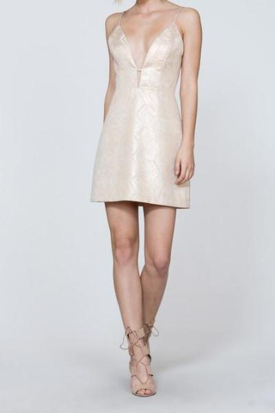 ALIYAH PALE GOLD PLUNGING COCKTAIL DRESS
