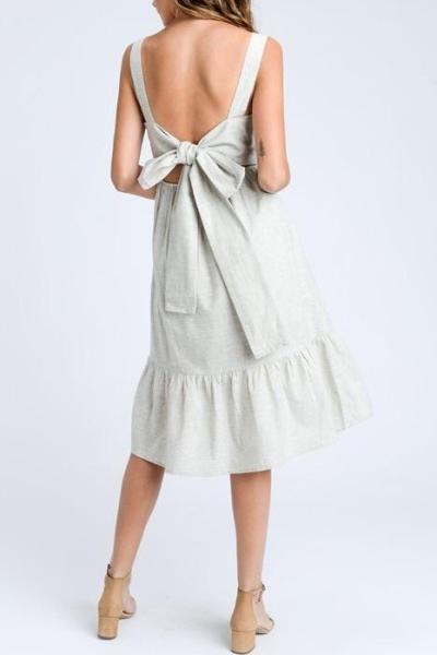 BRANDY BOW BACK PERFECT SHOWER BEIGE DRESS