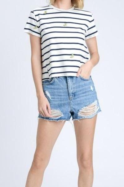 ANNA BANANA BLUE AND WHITE STRIPPED CROP TOP TEE