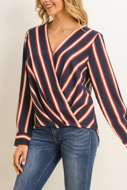 MARÍA STRIPED WRAP TOP