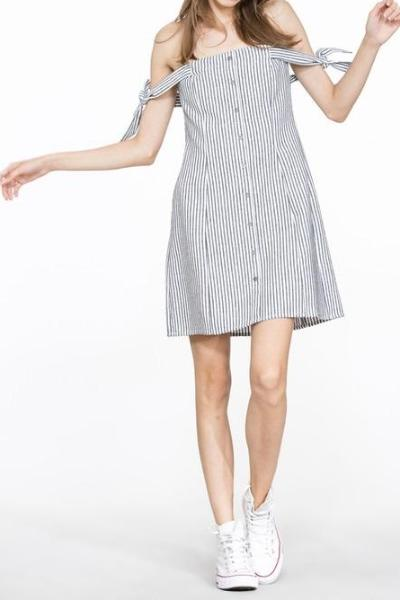 MARLOW PIN STRIPPED BUTTON DOWN OFF THE SHOULDER SUMMER DRESS