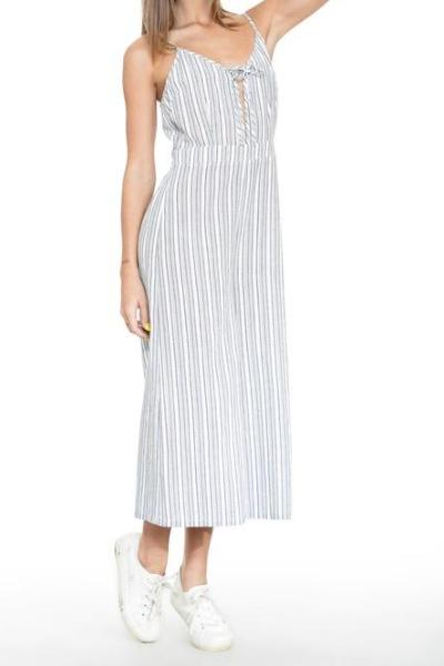 JESSICA GREY STRIPPED WIDE-LEG CROPPED JUMPSUIT