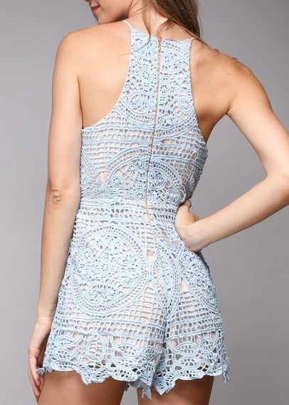 LAUREN LIGHT BLUE LACE ROMPER