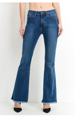VICTORIA HIGH-RISE FRAYED HEM FLARE JEANS