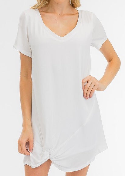SARAH FRONT TWIST WHITE T-SHIRT DRESS
