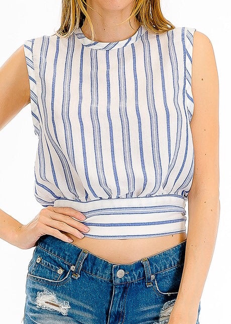 HAILEY ALL TIED UP BACK BLUE AND WHITE STRIPED TOP