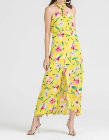 FAYLA FLORAL YELLOW HALTER MAXI DRESS