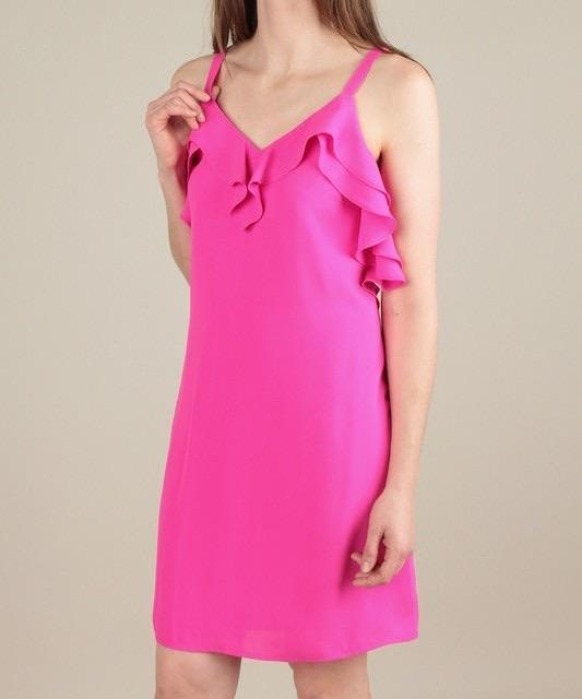 HOLLY HOT PINK DOUBLE RUFFLED NECK