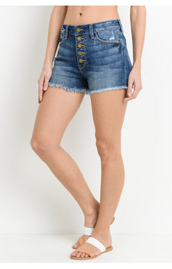 TAY TAY JIGH RISE BUTTON DOWN FRAYED BLUE DENIM SHORTS