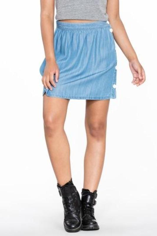 BILLY JEAN CHAMBRAY SIDE BUTTONED DOWN SKIRT