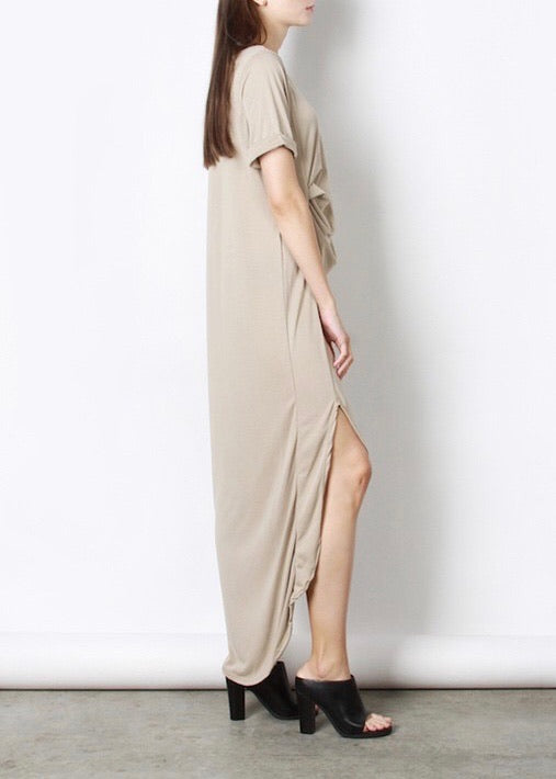 VALENTINA DUSTY TAUPE RUCHED MAXI