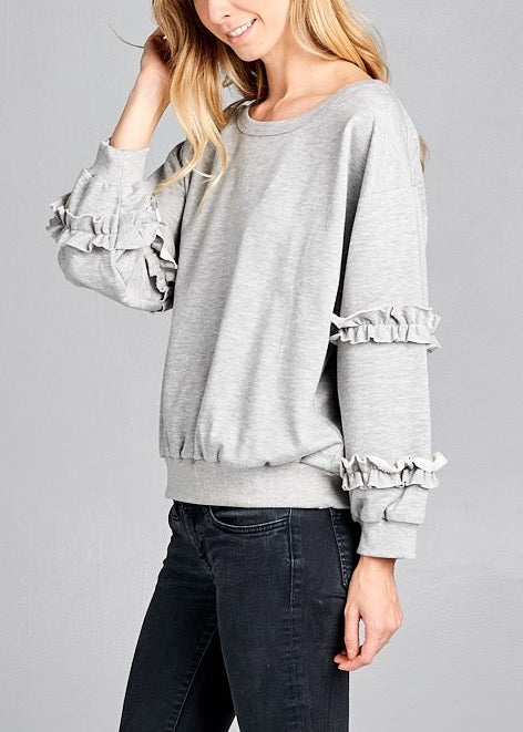 EVE RUFFLED SLEEVES GREY SWEATSHIRT