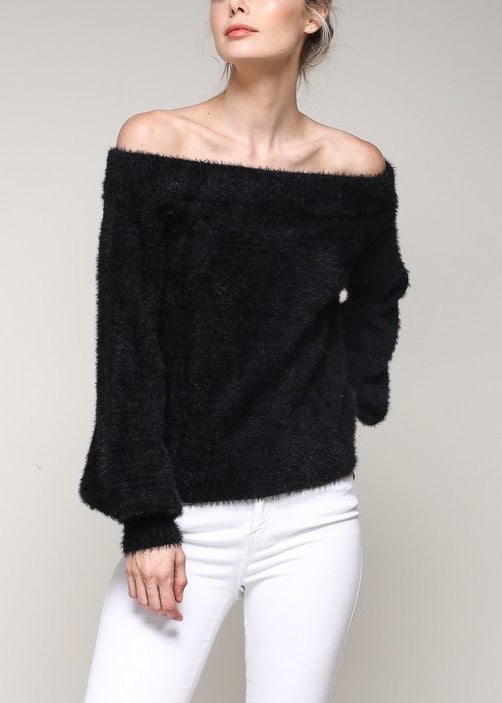 PAMELA FUZZY OFF THE SHOULDER SWEATER