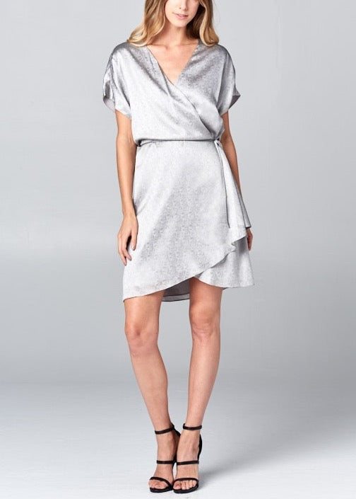 BRITTANY SILVER WOVEN COCKTAIL DRESS