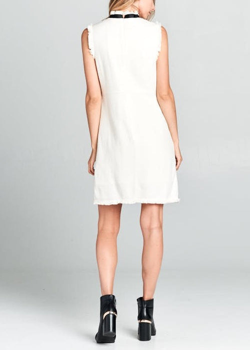 FIRST LADY CREAM WOVEN DRESS