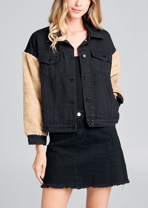 MOLLY DENIM CONTRAST SLEEVES WOVEN JACKET
