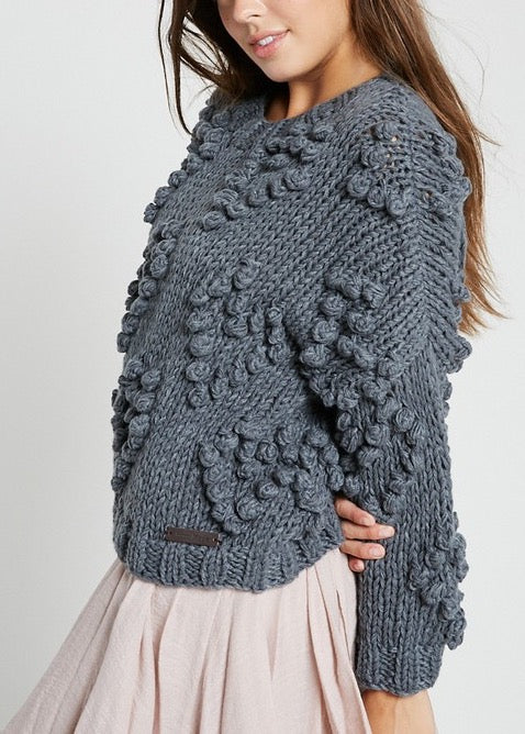 BARBARA HAND MADE CHARCOAL SWEATER