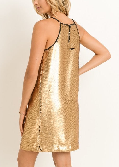 CHLOE GOLD-BLACK SEQUIN DRESS