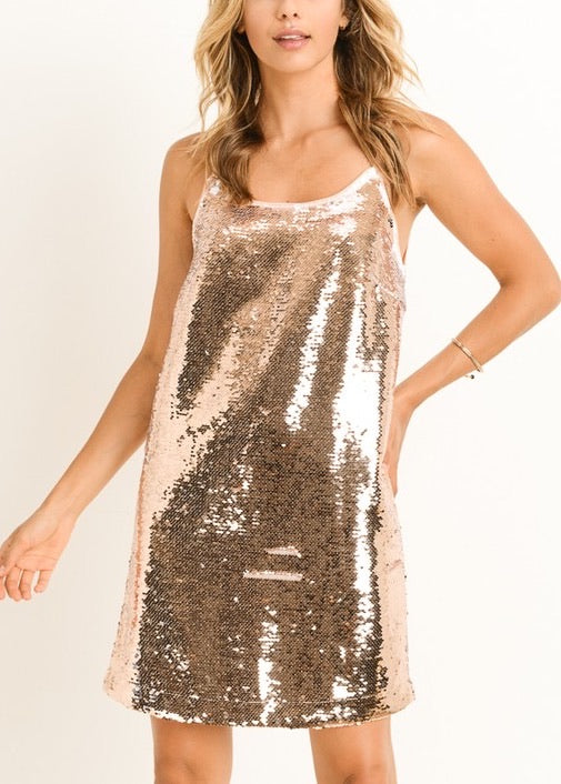MINDY PEACH-WHITE SEQUIN DRESS