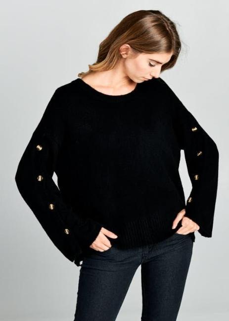 BUTTON UP BELL SLEEVE SWEATER