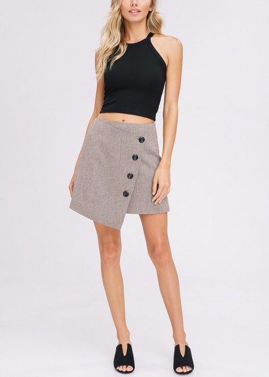 LEXIE WOOLEN WRAP MOCHA SKIRT