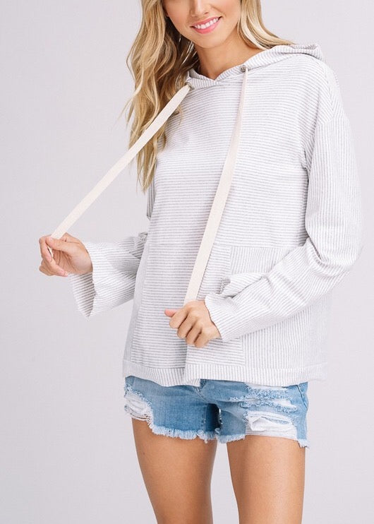 ERICA STRIPE HOODIE LIGHT GREY TOP