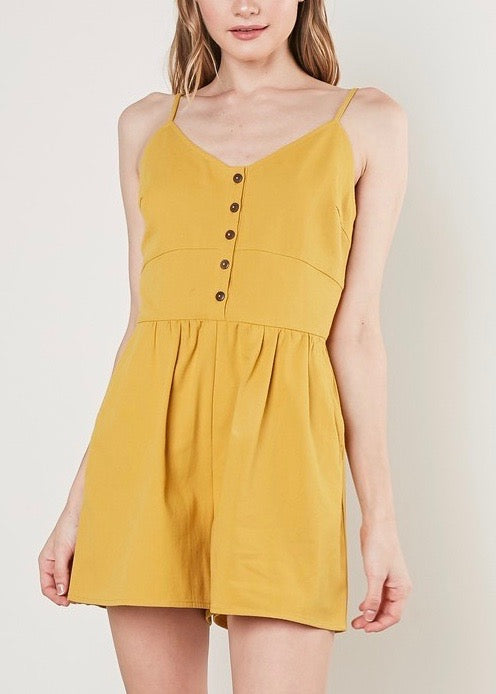 V-NECK SLEEVELESS ROMPER WITH PLEATED SHORTS