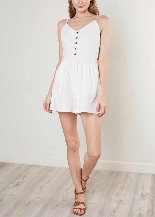 WHITE ROMPER WITH PLEATED SHORTS