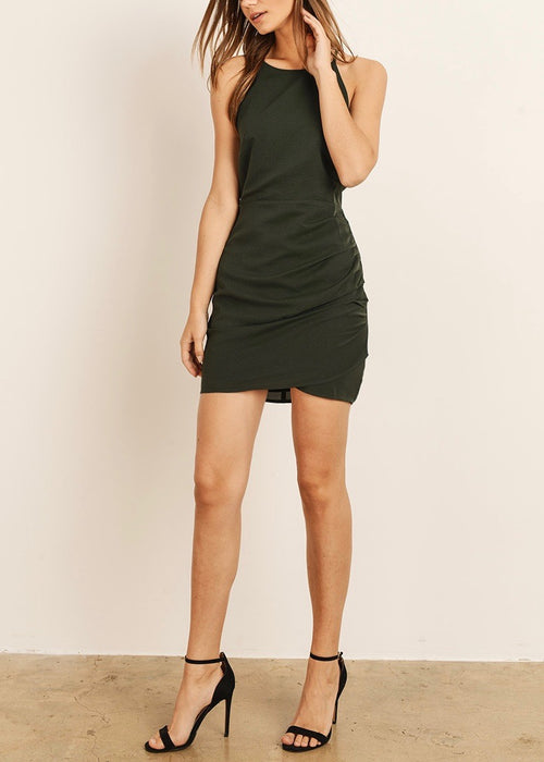 BLACK DRESS WITH SIDE RUCHING