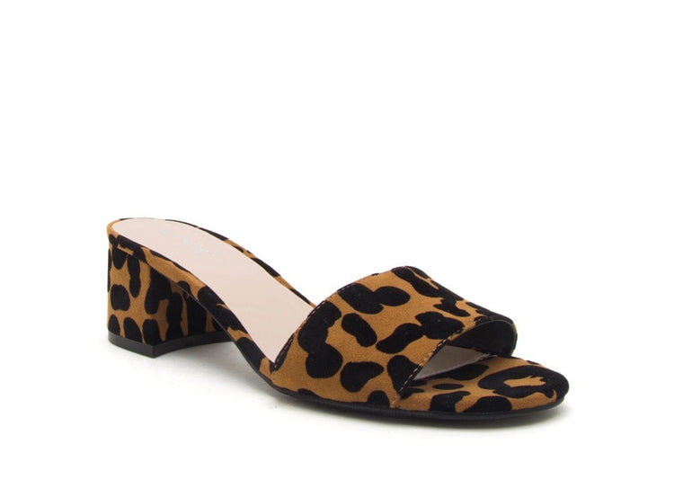 FIONA LEOPARD SLIDE SANDALS
