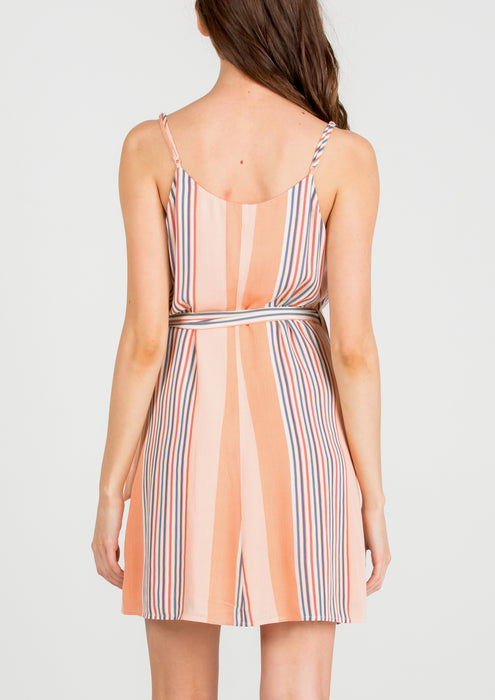 DREW STRIPED WRAP DRESS
