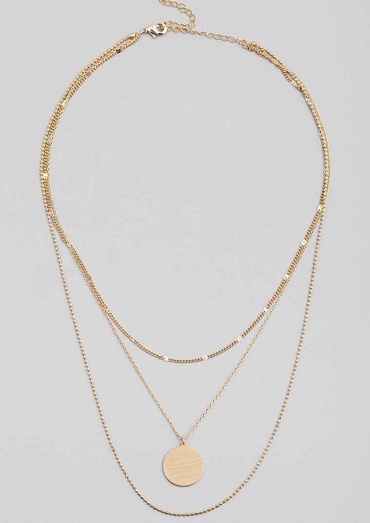 DAINTY LAYERED CHAIN COIN NECKLACE