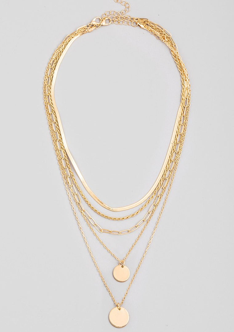 CHAIN LAYERED DISC PENDANT NECKLACE