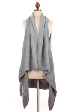 LONG GREY KNITTED VEST SHAWL
