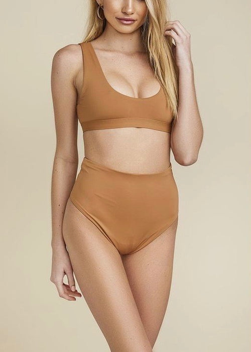 CARAMEL HI WAIST BATHING SUIT BOTTOMS