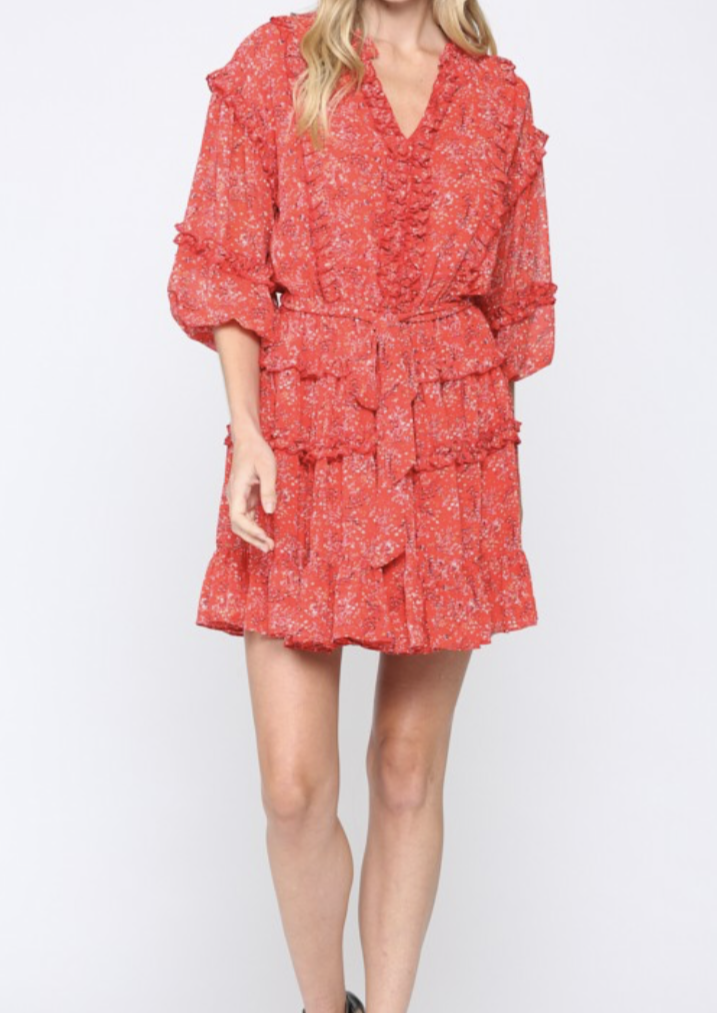 JUDITH RED RUFFLE DRESS