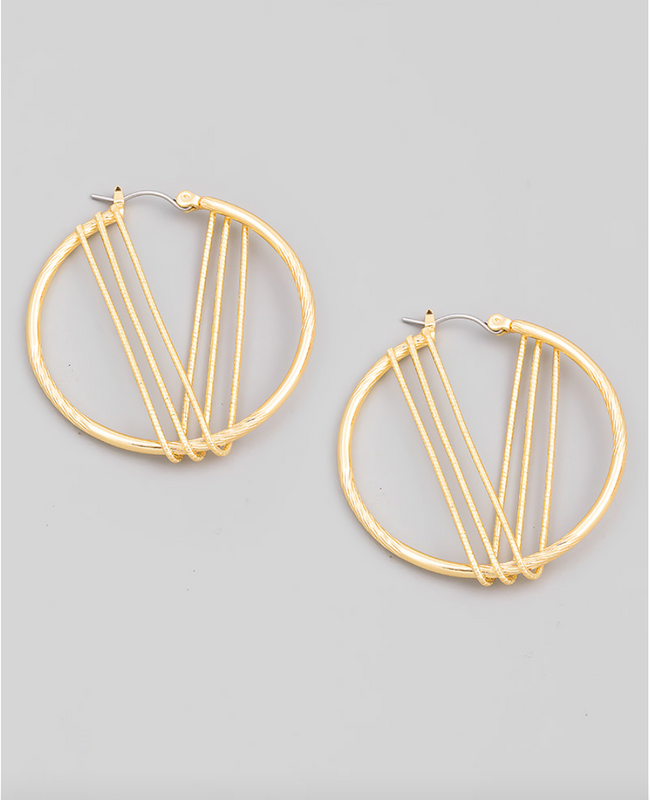 GOLD WIRE WRAP HOOPS
