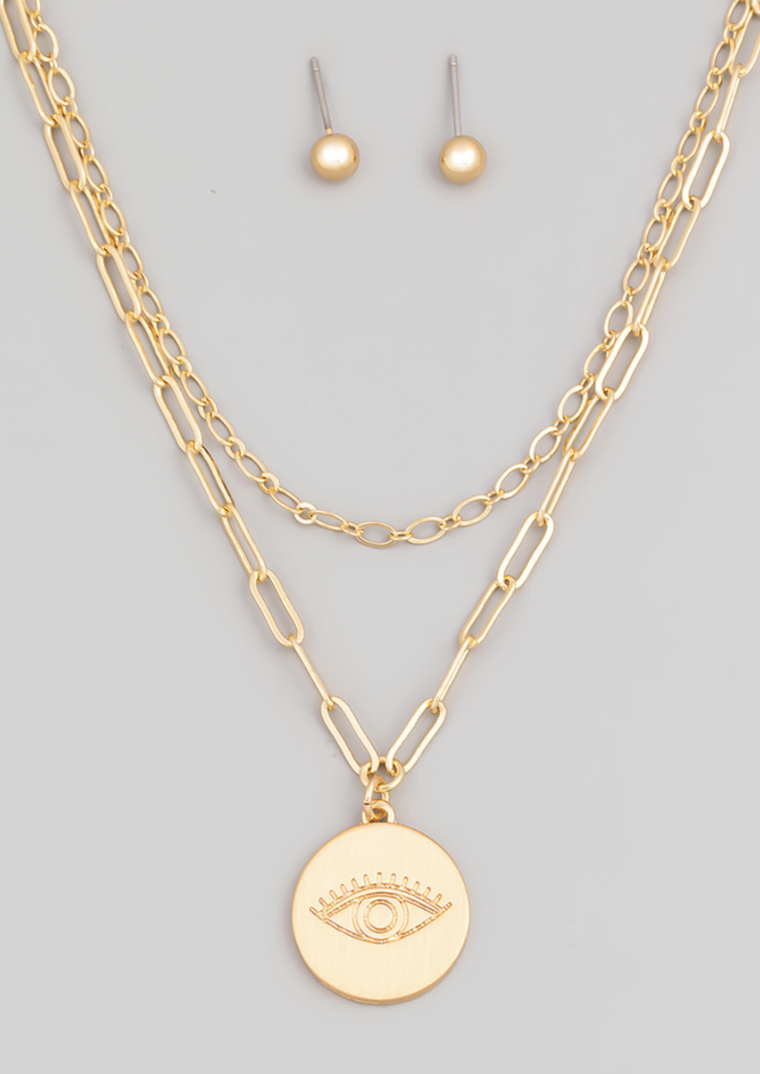 EVIL EYE GOLD LAYERED NECKLACE