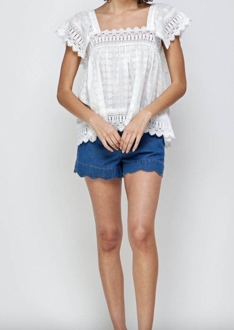 HADEN LACE SHORT SLEEVE TOP