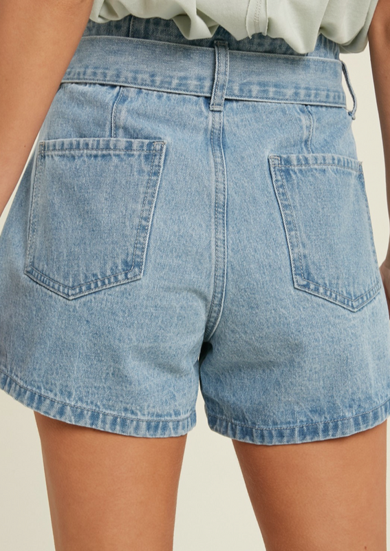 tie waist denim shorts