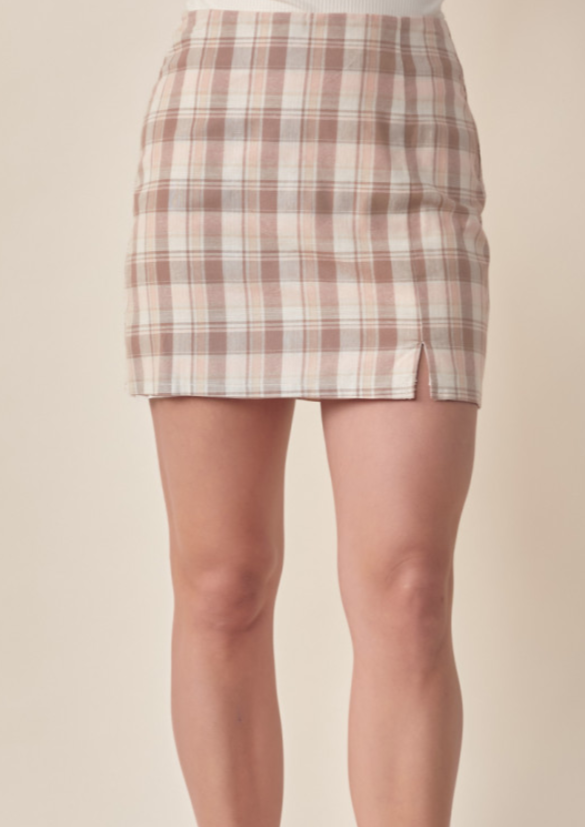 PENNY PLAID PRINT MINI SKIRT