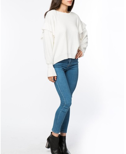 EMORY FLUTTER SLEEVE SWEATER
