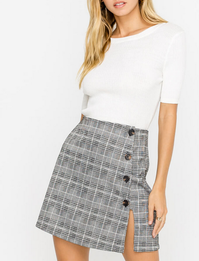 HEATHER HOUND TOOTH SKIRT