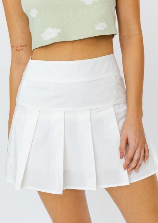BECKY WHITE PLEATED MINI SKIRT