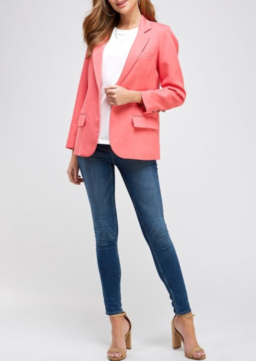 BLAZER; PINK; SINGLE BUTTON BLAZER; SOLID BLAZER; CORAL