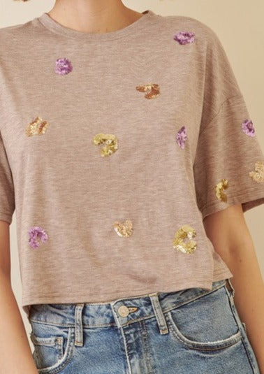 SANDY SEQUIN CROP T-SHIRT