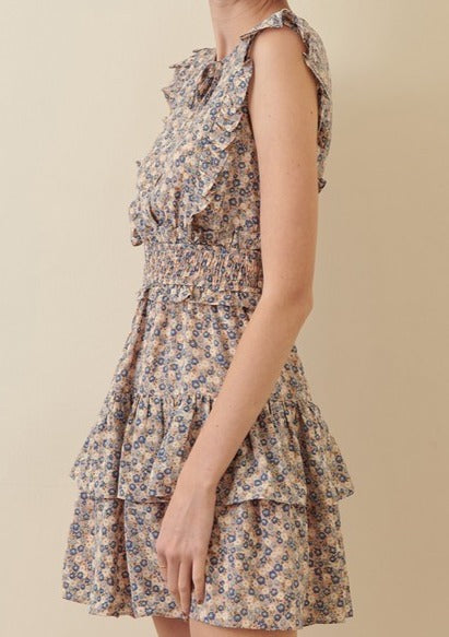 FRENCHIE FLORAL SMOCKED WAIST DRESS
