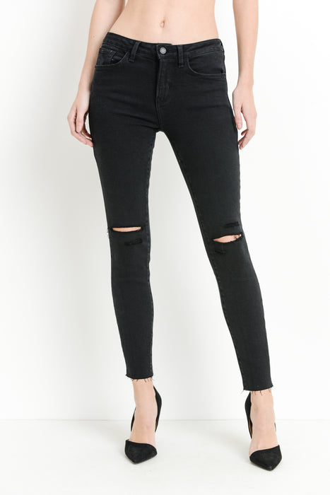 BLACK DENIM WITH SLITS IN THE KNEES